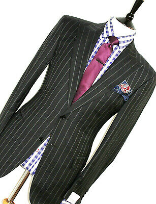 Bnwt Luxury Gorgeous Mens Pal Zileri Bold Chalkstripe Slim Fit Suit 40R W34