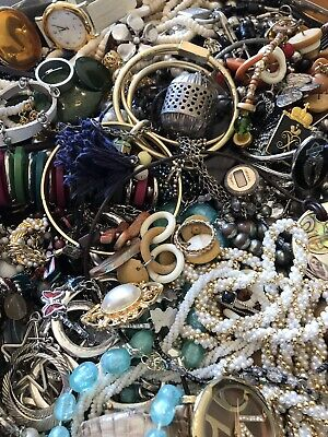 Junk Drawer Lot  Jewelry 3 1/2 Lbs All Wearable- True Auction!!!