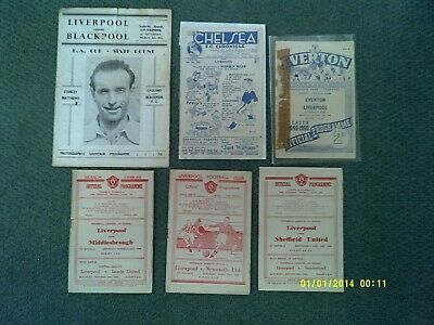 x6 - Liverpool FC 1940s Football Programme Collection / Job Lot