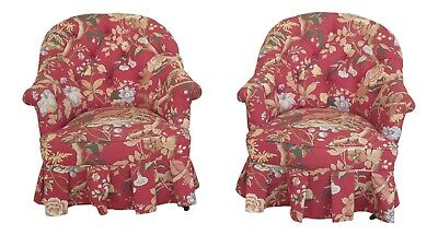 F31258EC:Pair Victorian Pheasant Print Small Upholstered Tufted Back Club Chairs