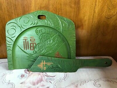 Oriental Green Wooden  Crumb  Dust Pan Butler Sweeper Tray Set LA Calif 7/374