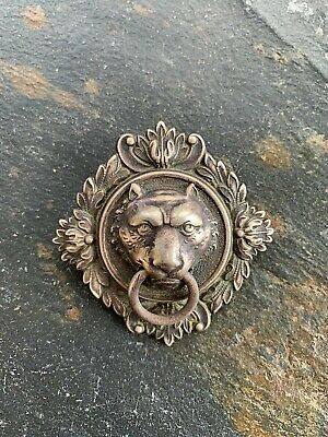 Circa 18th Century Antique Solid Silver Lion sHead Handle Pull or Ornament