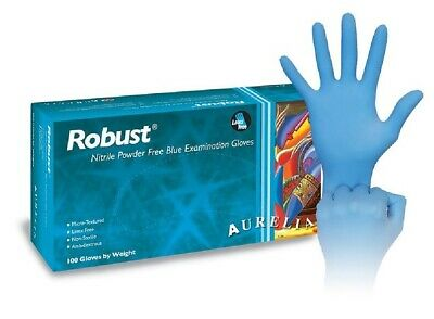 ROBUST BLUE NITRILE Medical Tattoo Mechanic Powder Free Gloves Box of 100/2