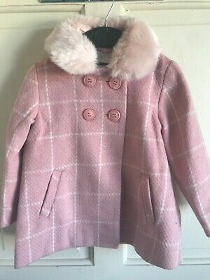 BNWT Next Pink Duffle Style Coat. Girls. Age 2 - 6 Years. Faux Fur Trim