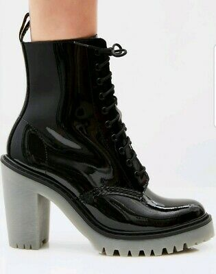 """DR. MARTENS WOMENS PATENT LEATHER """"KENDRA"""" BOOTS Size 5 Brand New"""