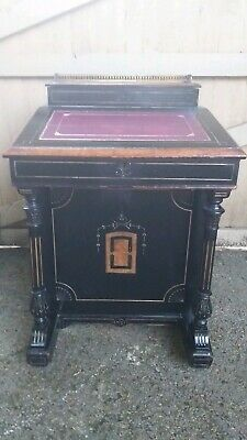 Antique  Beautiful Walnut Victorian Ebonised Davenport Desk Purple Leather Top