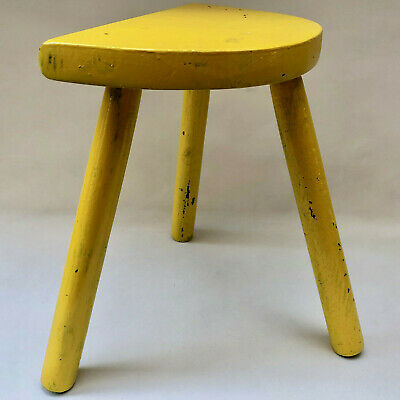 Vintage French Yellow 3 Leg Wooden Milking Stool With Half Moon Seat