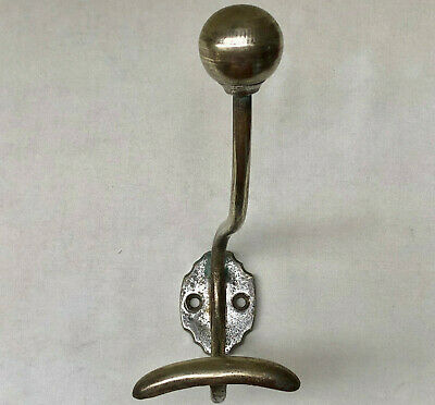 Vintage French Silver Coloured Metal Wall Coat & Hat Hook In Used Condition