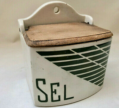 Vintage French Art Deco White Ceramic & Wood Salt / Sel Wall Hanging Container
