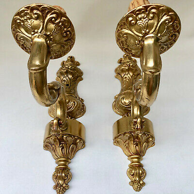 Vintage French Pair Of Gold Colour Single Wall Electric Lights Candle Sconces
