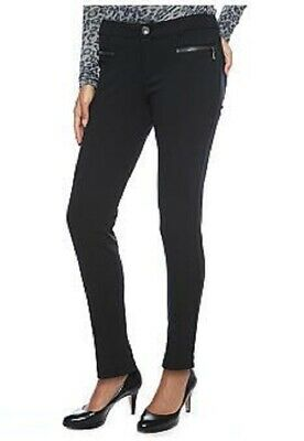 New $259 Dkny Jeans Women Black Seamed Zip-Detail Ponte Ankle Skinny Pant Size 6