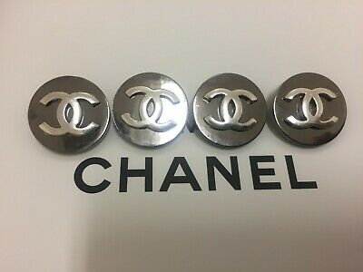 CHANEL buttons for womens clothing QTY of 4 Silver CC logo