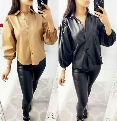 Womens Ladies Faux Leather Ball Cuff Sleeve Button Up Collared Shirt Blouse Top