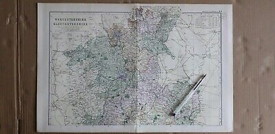Antique map. Worcestershire & Gloucestershire . 1890