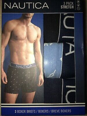 Men's NAUTICA (3) Pack (LARGE) BOXER BRIEFS/ BREVE BOXERS/ STRETCH/ TAGLESS