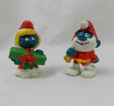 Smurfs Christmas Smurfette Papa Smurf Mr Mrs Claus Vintage Figures Collectible