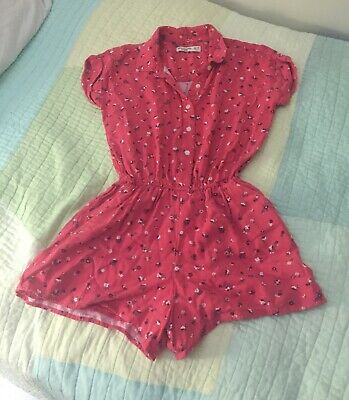 Abercrombie Kids Size 13/14 Collared Magenta Floral Romper with buttons