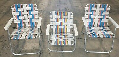 Folding Web Lawn Chairs.3 Vintage All Aluminum Folding Webbed Lawn Chair Pink Blue 1
