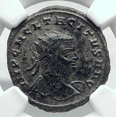 TACITUS Authentic Ancient 275AD Serdica Roman Coin JUPITER NGC Certified  i80622