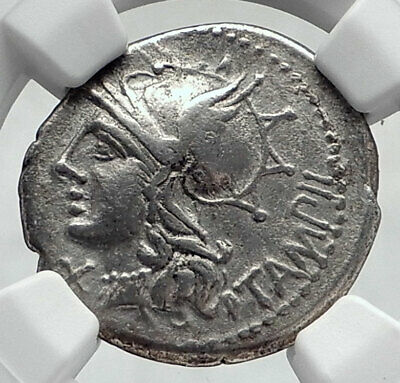 Roman Republic 137BC Rome Apollo Chariot Original Ancient Silver Coin NGC i80627