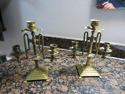 Antique Pair of Brass candlestick Holders VERY UNIQUE