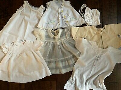 Lot of 7 Vintage Baby Doll Clothes Gowns Bonnet Jacket Embroidery Lace Organdy