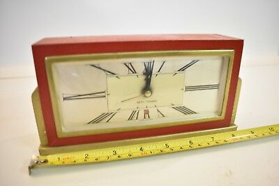 Used Vintage / Antique Seth Thomas Red & Gold Electric Clock Model Baxter-4E USA