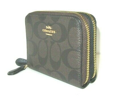 Coach Small Double Zip Brown PVC Signature Black Leather Wallet F78144 NWT $178