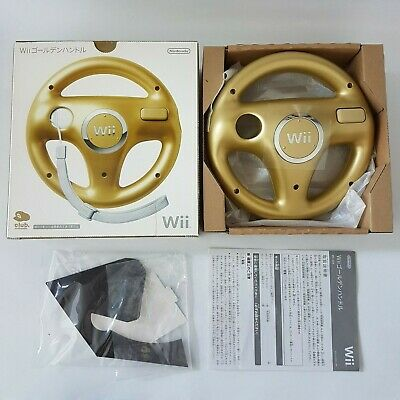 LIKE NEW. Genuine Club Nintendo Wii Gold Controller Wheel Boxed (+Box U) / RARE!
