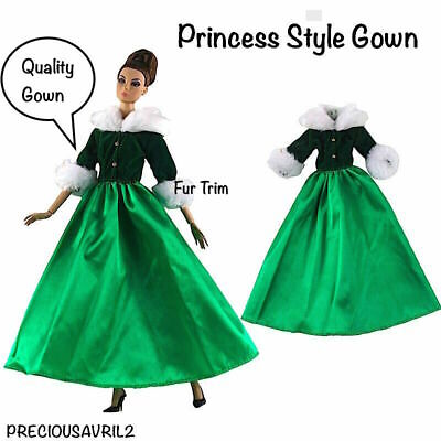 New Barbie doll clothes outfit princess wedding dress green brocade shoes