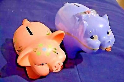 LOS ANGELES FEDERAL SAVINGS Vintage PIGGY BANK ~ Chalkware + Plastic Coin Bank