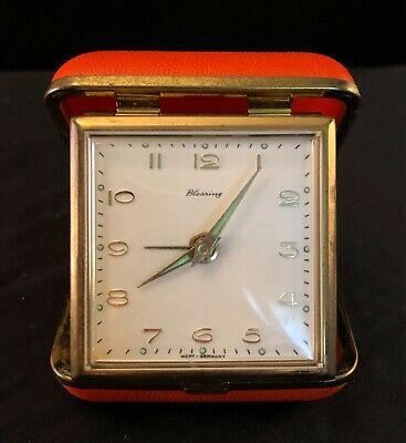 Bright Orange Blessing Folding Travel Alarm Clock Made In West Germany