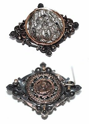 Victorian 2-Sided Renaissance Revival Angel Brooch French Antique Bronze 1860
