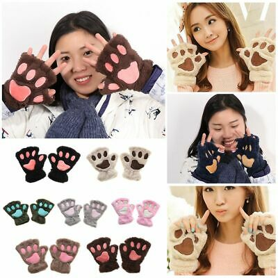 14Colors Women Warm Winter Fluffy Fingerless Plush Gloves Bear Cat Paw