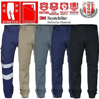 Work Cargo Pants Stretch Cotton Drill Elastic Ankle Cuff 3M Tape UPF 50+ Utility