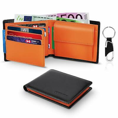 Wallets Mens Slim Trifold RFID Blocking Genuine Leather With Coin Pocket 2 Bankn
