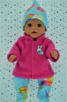 """Play n Wear Dolls Clothes To Fit 17"""" Baby Born HOT PINK JACKET~TIGHTS~HAT"""
