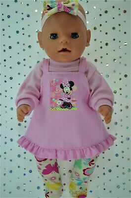 "Play n Wear Dolls Clothes To Fit 17"" Baby Born PINK DRESS~TOP~TIGHTS~HEADBAND"