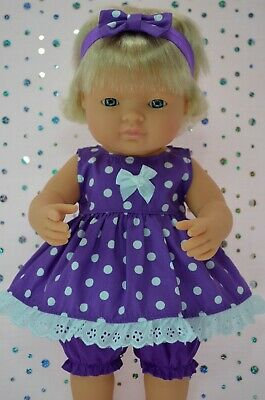 Dolls Clothes For 38cm Miniland Doll PURPLE POLKA DOT DRESS~BLOOMERS~HEADBAND