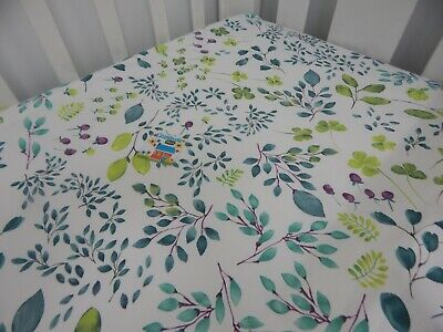 Cot Sheet Fitted Native Leaves Cotton Fits to 79x130cm mattress