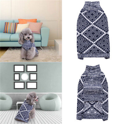 Geometrical Pattern Small Pet Dog Puppy Warm Jumper Sweater Clothes Knitted Coat