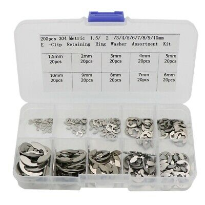 200 Pcs 304 Stainless Steel Opening Snap Ring,E Clip External Retaining N1J4
