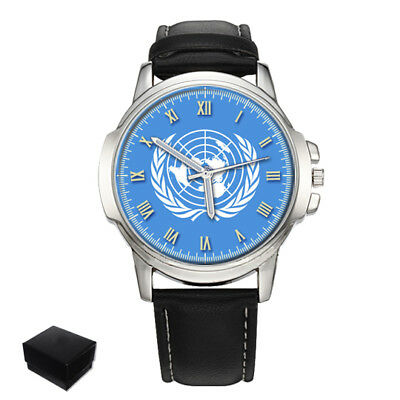 United Nations Un Flag Gents Mens Wrist Watch Christmas Gift Engraving