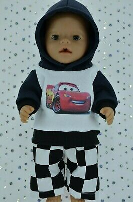 """Play n Wear Boys Dolls Clothes To Fit 17"""" Baby Born FLEECY HOODIE~CHECK PANTS"""