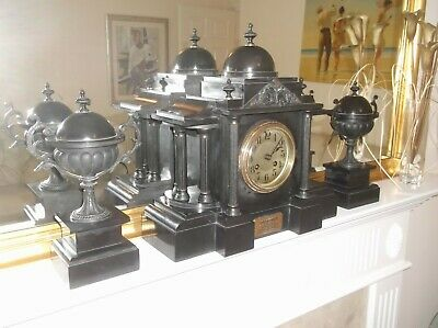 VICTORIAN CLOCK GARNITURE of SMALL PROPORTIONS in FABULOUS CONDITION FOR ITS AGE