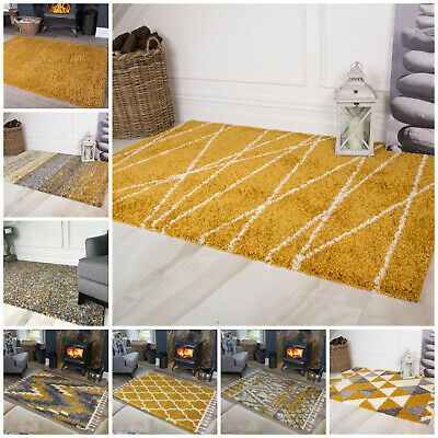 Yellow Mustard Quality 5cm Thick Shaggy Rugs Moroccan Geometric Non Shed Rug NEW