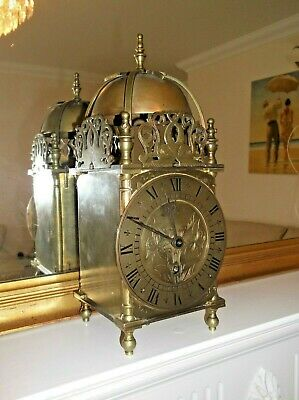 EXCELLENT ANTIQUE LANTERN CLOCK with FRENCH PLATFORM ESCAPEMENT IN WORKING ORDER