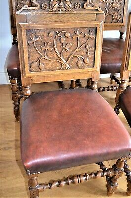 6 x Arts and Crafts Rare Each Individually Hand Carved Oak/Leather Dining chairs
