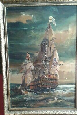 Fine 20th c, Very Large English Framed Oil on Canvas. Galleon at Sea Study.