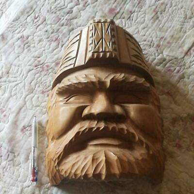Ainu Japanese Wooden Hand Carving Sculpture Traditional Mask Vintage Rare I9